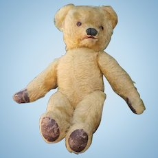 """Very rare blond mohair  Teddy Bear with opening mouth,  20 """"tall, France 1890s"""