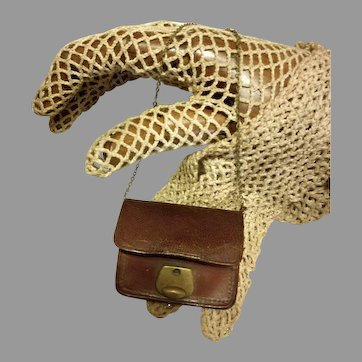 Antique Brown leather fashion doll bag with chain,  France, 1880s