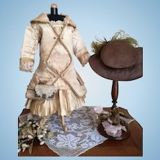 """Stunning original  French silk dress, ideal for 21"""" Bru, Jumeau or other. France 1880s"""