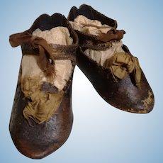 Size 10 early Jumeau shoes, France 1880s