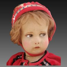 Adorable italian Lenci doll , series 300 , with very nice original Lenci outfit , about 17 inches high (43 cm)