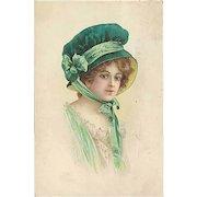 """""""Woman in green Bonnet""""  (1913)"""