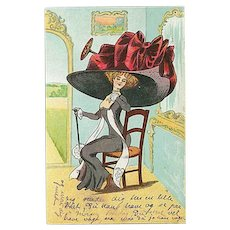 """""""Lady in huge Hat with red Ribbon"""""""