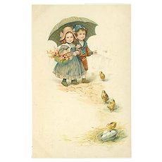 """""""Cute little Children and Chickens""""  (1916)"""