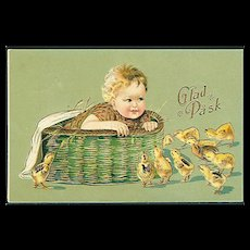 """""""Baby in Basket Chickens outside""""  (1909)"""