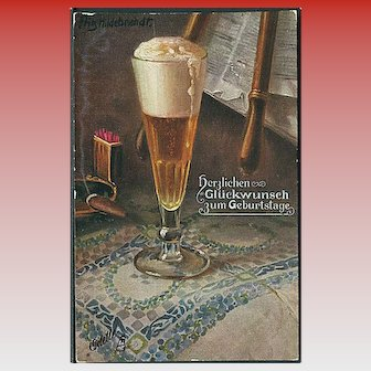"""""""Glass with foaming Beer""""  (1911)"""