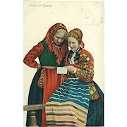 """""""Women in traditional Swedish Costumes""""  (1908)"""