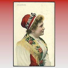 """Swedish Woman in traditional Costume""  (1908)"