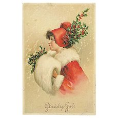 """""""Woman in Red with Holly""""  (1910')"""