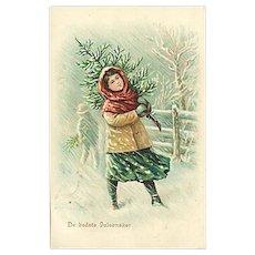 """""""Girl with Christmas Tree""""  (1906)"""