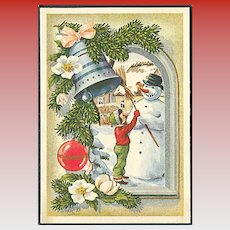 """Child Snowman and Christmas Bell""  (1954)"
