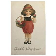 """Cute little Girl in red with Basket""  (1925)"
