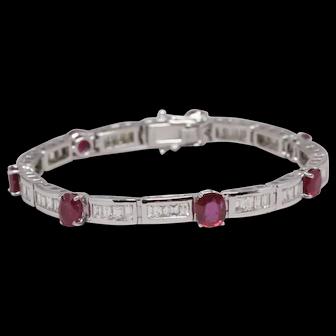 Unheated Burma Ruby Bracelet, 7.01 ct Unheated Rubies, Diamonds, 18K White Gold, Untreated Rubies, Lab Report and Appraisal
