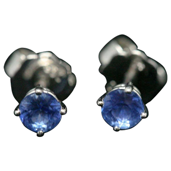 Blue sapphire and platinum stud earrings – unheated + certified