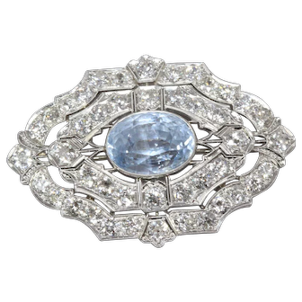 Huge Edwardian Sapphire Brooch (13.50 carat Ceylon Sapphire, untreated, Gübelin certificate)