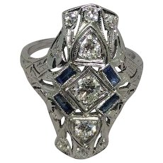 Authentic Art Deco Diamond and Sapphire Ring 1930