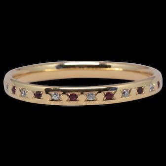 No Heat Burma Ruby + Old Cut Diamond Bangle (Gübelin certificate)