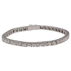 5.00 cttw Vintage Diamond Line Bracelet, 18K White Gold