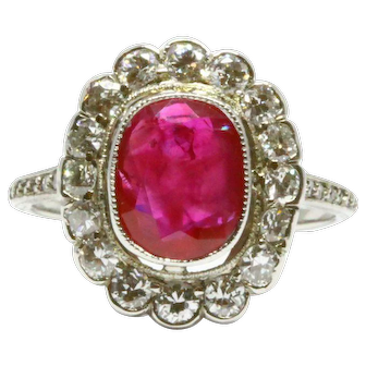 1920s Burma Ruby Art Deco Ring, 2.82 ct, Unheated Burma Ruby, GIA Report, Platinum and Diamond