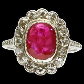 2.82 ct Burma Ruby Art Deco Engagement Ring (No Heat, GIA report)