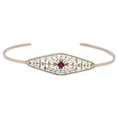 Vintage Ruby Filigree Bangle Bracelet