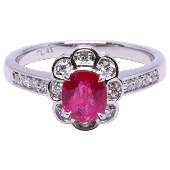 Fine Burma Ruby Ring 1.32 ct, unheated, GIA
