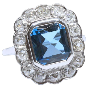 1930s Art Deco Ring with 3.50 ct Blue Topaz and OEC Diamonds, 14K White Gold