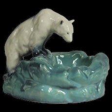 Ceramic Bowl, Polar Bear at Ice Pool, 1930s Ditmar Urbach
