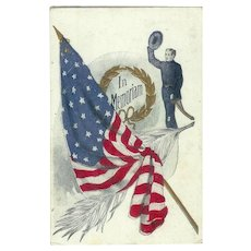 Patriotic In Memorandum Soldier taking Hat off American Flag Embossed Postcard 1907