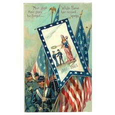 Civil War Patriotic Military Postcard Tuck's Embossed Lady Liberty American Flag Civil War 1910