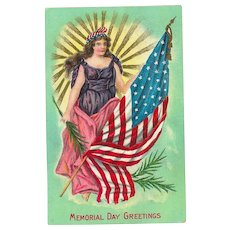 Memorial Day Greeting Postcard Lady Liberty holding Flag Embossed Postcard 1910