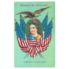 Memorial Day Greeting Postcard Patriotic Lady Liberty 1910 Flag