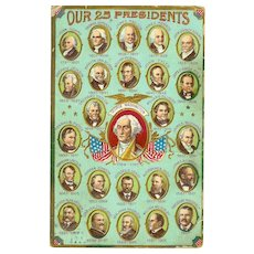 2 Patriotic 1908 American 25 Presidents and Flag Postcards
