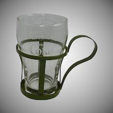Coca Cola Glass and Green Holder 1970's