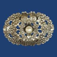 Oval Ornate Faux Pearl Silver Tone Scarf Clip