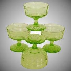 Vintage Green Footed Glass Sherbet Dessert Cups