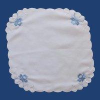 Blue Satin Flowers on Small White Scalloped Handkerchief
