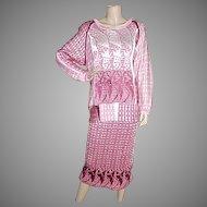 1980's Designer Artist Hand Loomed Skirt and Top