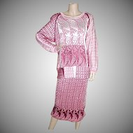 1980's Designer Artist Hand Loomed Skirt and Top