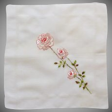 White Roses Red Outline White Background Vintage Handkerchief