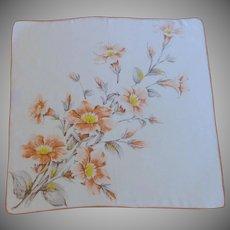 1950's Cotton Orange Trumpet Flowered Handkerchief