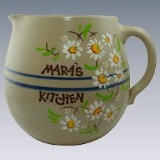 "Large Oval Round Pottery ""Mara's Kitchen""  Pitcher"