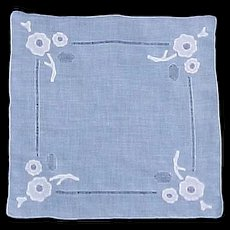 Blue Linen Cutwork and White Appliqué Handkerchief Hanky