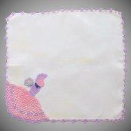 White Linen Crocheted Southern Bell Lady Handkerchief Hankie