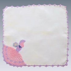 White Linen Crocheted Southern Bell Lady Handkerchief Hankie
