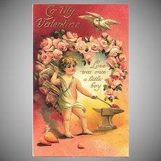 Valentine Cupid Boy Post Card 1911