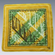 Designer Signed Kati Abstract Design Linen Handkerchief
