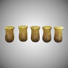 Gold Yellow Hand Blown Water or Drink Glass Set