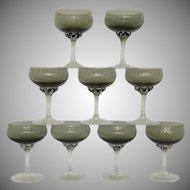 Coronation Smoke Sasaki Crystal Champagne/ Sherbet Glass