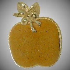Flat Yellow Apple Pin Cushion w/ Gold Tone Trim